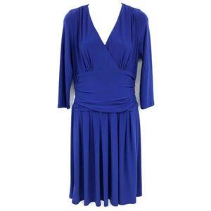 Eliza J. V-Neck 3/4 Sleeve Pleated Skirt Dress 8